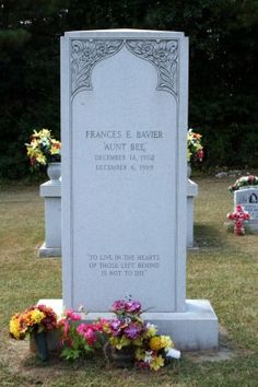 Frances Elizabeth Bavier ( Aunt Bea) from the Andy Griffith show Death: Dec. 6, 1989 Siler City, Chatham County, North Carolina, USA