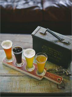 Custom Beer Flight Sampler Paddle #groomsmengifts #giftideas #weddingchicks http://www.weddingchicks.com/2014/04/01/groomsmen-gift-ideas/