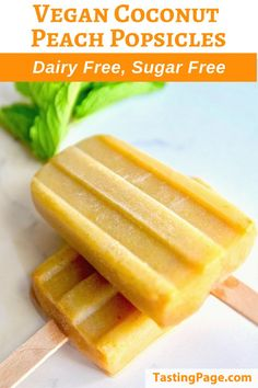 Dive into these vegan coconut peach popsicles. There's just three ingredients and they're sugar free and dairy free so feel free to indulge! Paleo Recipes, Real Food Recipes, Grain Free, Dairy Free, Peach Popsicles, Recipe Using, Clean Eating Recipes, Sugar Free, Coconut