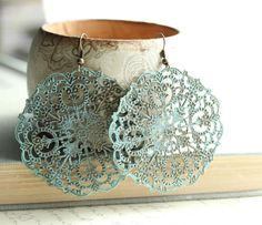 SALE 30% OFF Large Filigree Earrings Big Dangle Lacy Pattern Rustic Patina Jewelry Spanish Doily Denim Blue Aqua Turquoise Boho Chic Fashion
