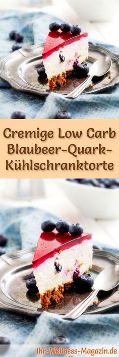Rezept für eine Low Carb Blaubeer-Quarktorte: Der kohlenhydratarme, kalorienreduzierte Kuchen wird ohne Zucker und Getreidemehl zubereitet ... #lowcarb #kuchen #backen #torte #zuckerfrei