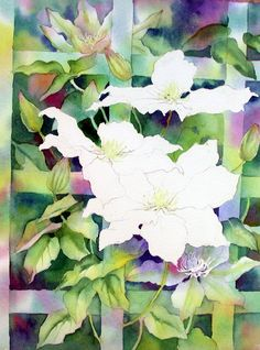 White clematis on a trellis by Ann Mortimer Watercolor Negative Painting, Watercolor Video, Watercolor Painting Techniques, Watercolor Pattern, Watercolor And Ink, Watercolor Flowers, Pattern Painting, Watercolour Paintings, Painting Videos