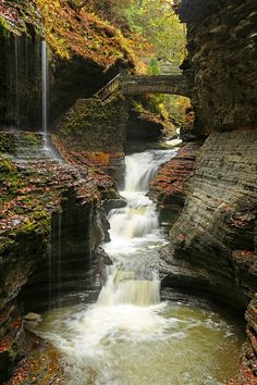 Watkins Glen State Park, New York - Located south of Seneca Lake in the Finger Lakes region lies an area called Rainbow Bridge and Falls.