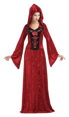 Adults Crimson Gothic Maiden Halloween Fancy Dress All-In-One Robes Costume - Dragons Den Fancy Dress Limited