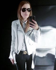 "105 Likes, 6 Comments - Gabriella Buzas (@epicstreetstyle) on Instagram: ""Biker thing 🚵 . ."" white minimal black monochrome smart chic outfit aviators ootd wiw whatiwore shirt tailored side stripe  trousers"