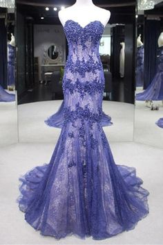 01864ee76ed Lavander Tulle Lace Applique Sweetheart Slim-line Train Long Prom Dresses