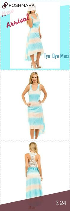 TYE DYE MAXI Oooo laaa la.. This super cute maxi features a crochet racerback. Unfinished hem is slightly longer in back. Not much stretch but lightweight. Made with 95% Polyester and 5%Spandex.  Approximate measurements Small: 3-5 Bust 33-35 Large: 11-13 Bust 38-41 Xlarge: 14-16 Bust 42-44  Bundle n Save. Open to REASONABLE OFFERS Dresses Maxi