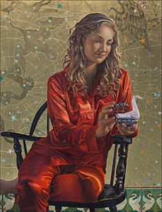Fred Wessel ~ Cygnus, Tempera with Gold, Silver  Palladium Leaf ~ Constellations