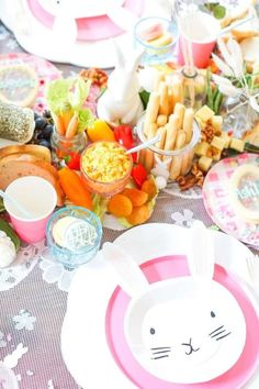Take a look at this wonderful Easter-themed party! The table settings are adorable! See more party ideas and share yours at CatchMyParty.com