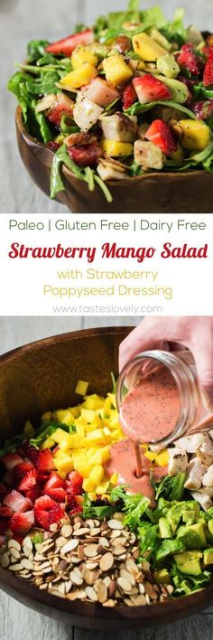 Paleo - Paleo Strawberry Mango Salad with Chicken - a healthy and delicious paleo, gluten free and dairy free salad for lunch or dinner! It's The Best Selling Book For Getting Started With Paleo Dairy Free Salads, Dairy Free Recipes, Paleo Recipes, Cooking Recipes, Juice Recipes, Strawberry Mango Salad, Strawberry Shortcake, Mango Salat, Sans Gluten Vegan