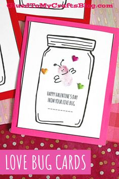 Thumbprint Love Bug Mason Jar Cards For Valentine's Day Mason Jar Cards, Mason Jars, Valentine Day Crafts, Happy Valentines Day, Valentine's Day Crafts For Kids, Love Bugs, Craft Ideas, Holiday, Gifts