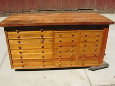 Vintage work bench with 24 drawers by rptu15 on Etsy, $1100.00