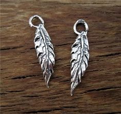 Handmade Artisan Leaf and Feather Charms in by VDIJewelryFindings