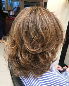70 Brightest Medium Layered Haircuts to Light You Up - Blowout With Flicked Ends - Medium Length Hair With Layers, Mid Length Hair, Medium Hair Cuts, Shoulder Length Hair, Short Hair Cuts, Medium Hair Styles, Curly Hair Styles, Blow Out Short Hair, Medium Layered Haircuts