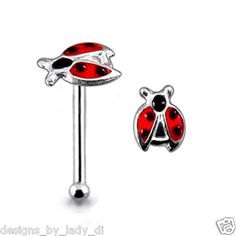Lady Bug Nose Stud! Tiny Lady Bug Silver Nose Stud Studs Rings - VERY CUTE. Only $4.43