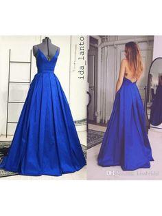 2017 Criss Cross Back Royal Blue Cheap Long Prom Dress