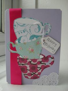Stacked tea cup cards