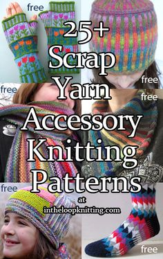 Knitting Patterns for Scrap Yarn Accessories. Most patterns are free