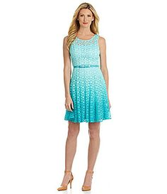 b6037a5c04 Leslie Fay Daisy Lace Fit-and-Flare Dress