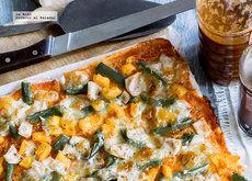 Pizza de pimiento y jamón con pan de caja. Receta fácil