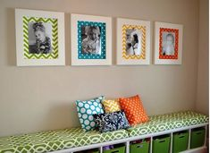 This is exactly what I'm doing in our playroom. Love picture frame on left because color theme is green black and white.