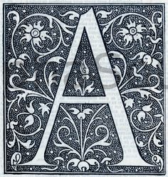 INSTANT DOWNLOAD French Letter A Illuminated Lettering 6x6 at 600 DPI Image Download