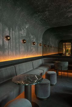 Four Seasons Hotel — Montreal, Canada - The lounge/ bar of the hotel is designed by Montreal studio Atelier Zébulon Perron, the space was - Hotel Lounge, Bar Lounge, Lounge Decor, Office Lounge, Lounge Chair, Lounge Areas, Lounge Seating, Lounge Party, Hotel Party