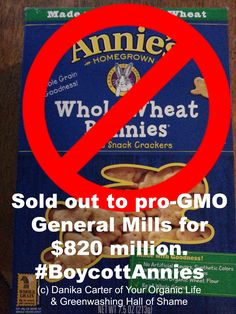 """Another #organic brands sells out to a mega corporation who profits from highly processed, unhealthy, #GMO-laden """"food"""" for $820 MILLION. General Mills donates $ to fight #GMO labeling. Like every other natural & organic brand that has sold out we will start to see artificial chemicals slipped into the products. They will soon cease to resemble the products and the company that they built."""