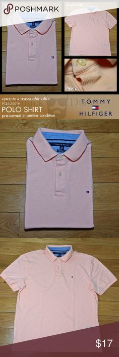 Tommy Hilfiger Men's Peach Polo Shirt Plain Peace-colored plain Polo Shirt. - Very comfortable - Soft Cotton Fabric - collar is ring free and clean  Pre-owned but in pristine condition. No stain, rips or tear. Sterilized in gentle and delicate wash. No foul odor and came from smoke free / animal free environment. Very good quality.  Please take a closer look at this listing before you purchase them.  Thank you for visiting Schmick Dude closet and its listings Tommy Hilfiger Shirts Polos