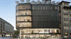 Modehaus Modissa in Zürich: Pfosten-Riegel-Fassade in Baubronze. Ein architektonischer Blickfang.