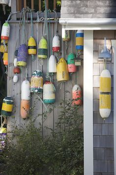 Lobster buoys wash on shore after storms & are fair game for collecting. Each design is registered to a specific lobster boat, and woe to anyone who pulls pots belonging to someone else. Beach Cottage Style, Beach House Decor, Coastal Style, Coastal Decor, Coastal Living, Nantucket Style, Nantucket Island, Coastal Cottage, Mini Pool