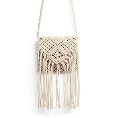 Yoins Beach Crochet Knotted Fringed Crossbody (£14) ❤ liked on Polyvore featuring bags, handbags, shoulder bags, beige, crossbody handbags, purse crossbody, man bag, white fringe purse and fringe crossbody purse