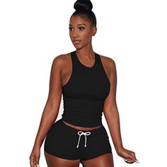 37c38380f6d Women Playsuits 2 Piece Set Tank Top Short Pants Sleeveless Split Casual  Outfit Sportswears  Clothing