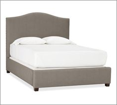 King Bed in Brushed Canvas Mushroom - Raleigh Upholstered Camelback Bed & Headboard with Nailhead | Pottery Barn