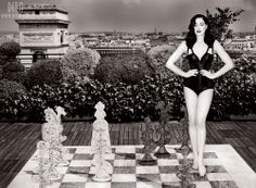 Dita Von Teese photographed on the roof of Hôtel Raphael in Paris