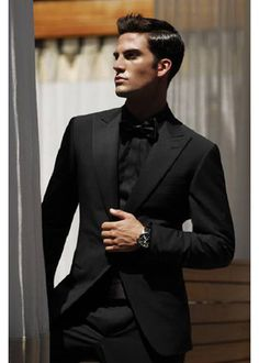 all black tux w/ black bow tie [or should the bow tie be white