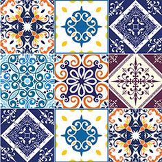 Adesivo de Parede Mix Azulejo Colonial 15x15 Grudado Colorido (60x120cm)