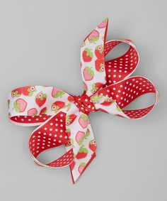 Look what I found on #zulily! Red Strawberry Bow Hair Clip #zulilyfinds