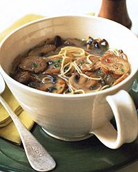 Sausage and Mushroom Soup  (without the angel-hair pasta, this would make a good dukan recipe)