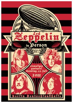 LED ZEPPELIN - artistique affiche pour Berlin, Allemagne - 19 juillet 1970 - concert spectacle on Etsy