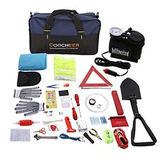 COOCHEER Auto Emergency Kit,Multifunctional Roadside Assistance 99-In-1 Car Safety Kit with Jumper Cables,Folding Military Shovel,Air Compressor,Tow Rope,Triangle,Flashlight,Tire Pressure Gauges,Safet #COOCHEER #Auto #Emergency #Kit,Multifunctional #Roadside #Assistance #Safety #with #Jumper #Cables,Folding #Military #Shovel,Air #Compressor,Tow #Rope,Triangle,Flashlight,Tire #Pressure #Gauges,Safet