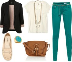 """""""turquoise pants, black blazer"""" by xenialim on Polyvore"""