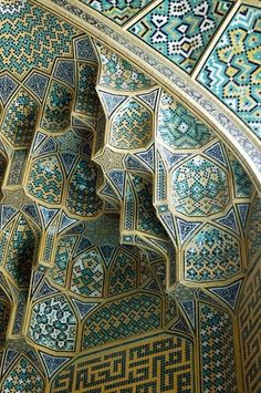 Tile work of the Masjid-e Imam mosque (Imam Mosque Isfahan) in Iran. An amazing inspiration due to the fusion of architecture and interior design. Persian Architecture, Beautiful Architecture, Beautiful Buildings, Art And Architecture, Architecture Details, Mosque Architecture, Beautiful Mosques, Beautiful Places, Moorish