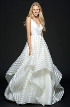 V-Neck A-Line Wedding Dress with Natural Waist in Organza. Bridal Gown Style Number:33419680