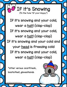 A fun song about snow and what we wear to stay warm! I hope you enjoy this FREEBIE! Winter Songs For Preschool, Christmas Songs For Kids, Preschool Poems, Songs For Toddlers, Kindergarten Songs, Preschool Music, Kids Poems, Preschool Projects, Preschool Lessons