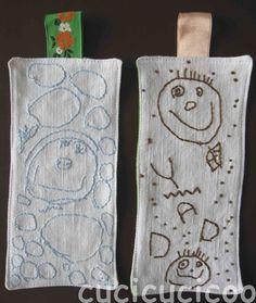 Regali fatti dai bambini: segnalibri col ritratto ricamato su lino recuperato - Cucicucicoo