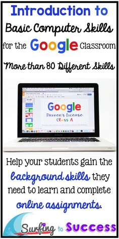 Wondering how to start using Google in your classroom?  Teach your students how to use Google Slides and so much more.  Help your students gain the background skills they need to learn and complete online assignments.  All you need are free Google account