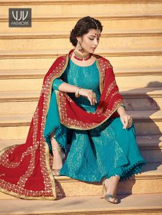 Blue And Red Traditionally Embellished Palazzo Suit - Hatkay - Design interests Blue Suit Brown Shoes, Bright Blue Suit, Royal Blue Suit, Dark Blue Suit, Blue Suit Men, Blue Suits, Cobalt Blue, Navy Blue, Designer Punjabi Suits Patiala