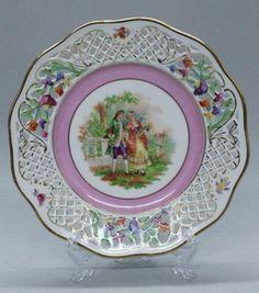 "Schumann,  Bavaria Porcelain (Germany) — Dresden Flowers Reticulated  Plate. D: 7 1/4"" (650x738)"