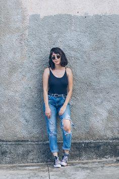 Ray-ban hexagonal, body, look do dia, outfit, loja três, body loja Três, jeans Zara, Converse